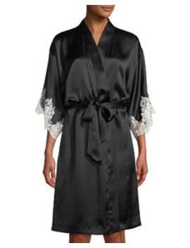 Splendeur Lace Trim Silk Blend Robe by Lise Charmel