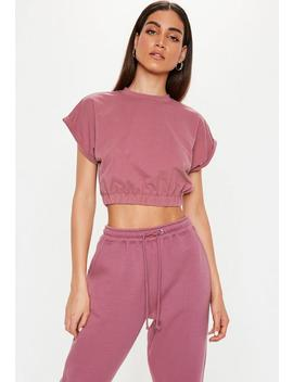 Mauve Gathered Waist Crop Top by Missguided