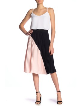 Colorblock Pleated Midi Skirt by Free Press