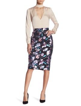 Floral Foil Scuba Pencil Skirt by Eci