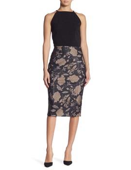Metallic Stitch Floral Print Scuba Skirt by Eci