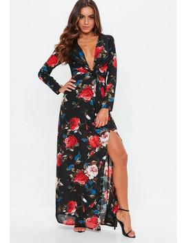 Black Floral Long Sleeve Twist Wrap Maxi Dress by Missguided