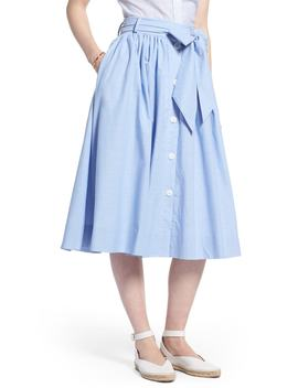 Bow Tie Chambray Skirt (Petite) by 1901