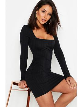 Ribbed Long Sleeve Bodycon Dress by Boohoo
