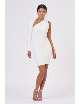 **White One Shoulder Dress By Club L by Topshop