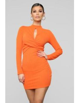 Touches My Soul Sweater Mini Dress   Orange by Fashion Nova
