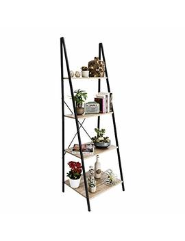 C Hopetree Ladder Shelf Bookcase Freestanding Plant Stand Lounge Room Home Office Bathroom Storage Vintage Wood Look Accent Display Furniture Metal Frame by C Hopetree