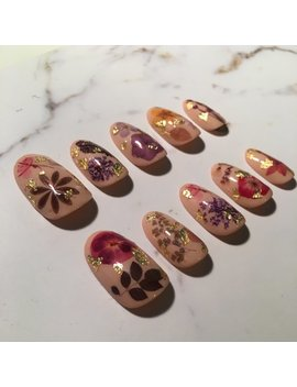 Reusable Pressed Dried Flowers Press On Nails With Gold/Silver Flake by Etsy