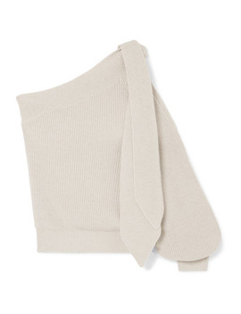 One Shoulder Tie Detailed Cotton Sweater by Brunello Cucinelli