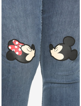 Disney Mickey Mouse &Amp; Minnie Mouse Kissing Patch High Waisted Jeans Plus Size by Hot Topic