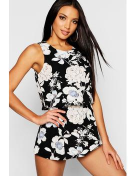 Floral Frill Layered Playsuit by Boohoo