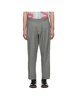 Grey Cropped Phil Trousers by Dries Van Noten
