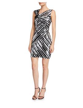Kensington Sequin Striped Asymmetric Mini Dress by Parker Black