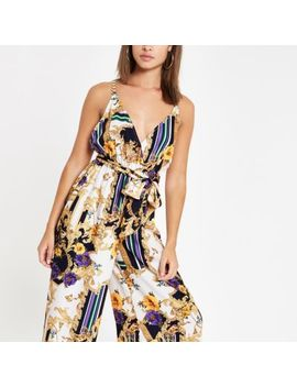 Navy Scarf Print Plunge Beach Jumpsuit by River Island
