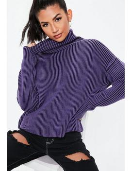 Purple Ribbed Roll Neck Knitted Sweater by Missguided
