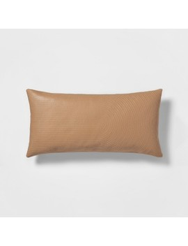 Quilted Faux Leather Oversize Lumbar Throw Pillow Neutral   Project 62™ by Shop This Collection