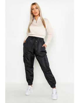 Plus Pocket Side Shell Jogger by Boohoo