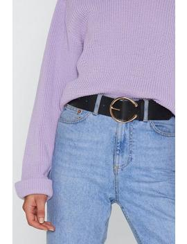 Faux Leather Round Buckle Belt by Nasty Gal