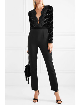 Guipure Lace Trimmed Embellished Velvet And Crepe Jumpsuit by Self Portrait