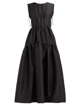 Ruth Tie Back Tiered Faille Dress by Cecilie Bahnsen