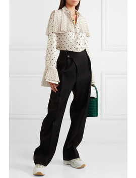 Jasper Pleated Polka Dot Satin Shirt by Mother Of Pearl