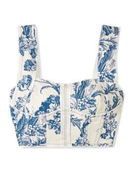 Cropped Printed Cotton Blend Bustier Top by Oscar De La Renta
