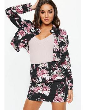 Black Floral Print Denim Mini Skirt Co Ord by Missguided