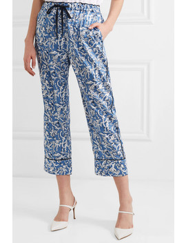 Cropped Printed Satin Twill Straight Leg Pants by Victoria, Victoria Beckham