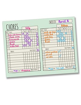 "Jennakate Mint Multiple Child Behavior Reward Chore Chart Daily Household Chore Checklist Job Chart  Dry Erase  14""X18"" by Jennakate"