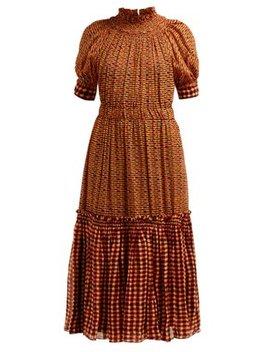 Square Print Gathered Silk Georgette Midi Dress by Proenza Schouler