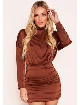 Ira Brown Ruched High Neck Satin Mini Dress by Missy Empire