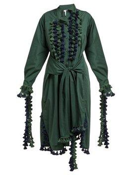 Pompom Trimmed Poplin Shirtdress by Loewe