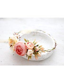 Blush Flower Crown, Coral Peony Flower Crown, Bridal Flower Crown Wreath, Tie Back Flower Crown by Etsy