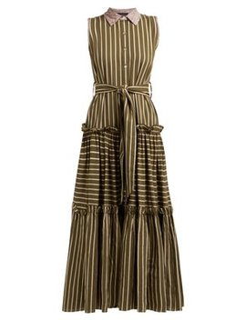 Time After Time Striped Tiered Cotton Shirtdress by Love Binetti