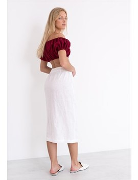 Abigail Linen Wrap Skirt / Button Front Skirt by Love And Confuse