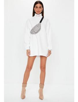 White Roll Neck Embroidered Sweater Dress by Missguided