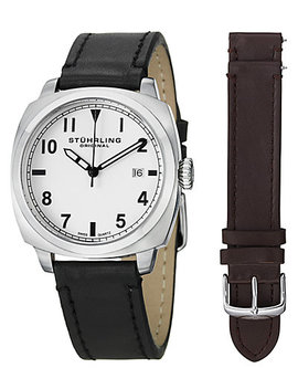 Stuhrling Men's Aviator Interchangeable Genuine Leather Strap Watch by Stuhrling Original