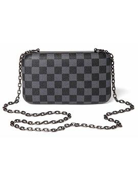 Daisy Rose Checkered Minaudiere Evening Bag   Rfid Blocking Cross Body Clutch  Pu Vegan Leather by Daisy Rose