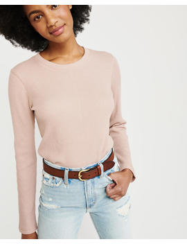 Waffle Crewneck Top by Abercrombie & Fitch