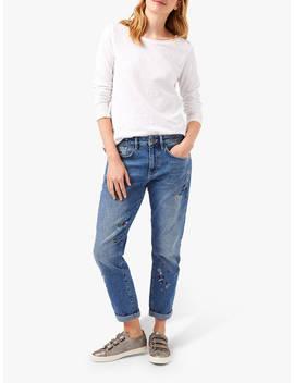White Stuff Embroidered Boyfriend Jeans, Denim by White Stuff