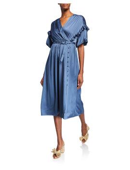 Short Sleeve Belted Satin Midi Dress W/ Ruffle Trim by Kate Spade New York