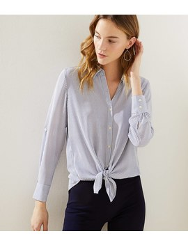 Petite Striped Tie Hem Utility Blouse by Loft