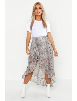 Plus Snake Print Ruffle Skirt by Boohoo