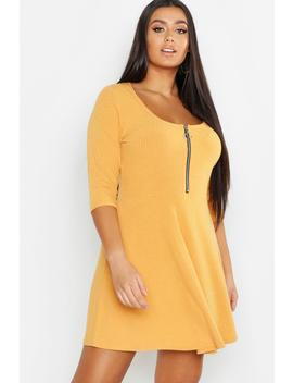 Plus Soft Rib Zip Front Skater Dress by Boohoo