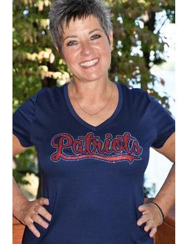 Patriots Rhinestone & Glitter   Bling  Shirt,  All Sizes Xs, S, M, L, Xl, Xxl, 1 X,2 X,3 X, 4 X 5 X by Etsy