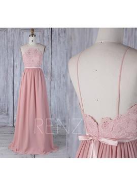 Bridesmaid Dress Blush Chiffon Dress,Wedding Dress,Spaghetti Strap Prom Dress,Lace Illusion Maxi Dress,A Line Evening Dress With Sash(L292) by Etsy