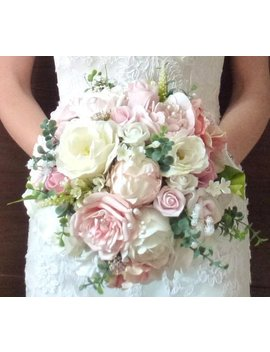 Bespoke Vintage Pastel Blush Dusky Pink And Ivory White Rose And Peony Wedding Bridal Bouquet Country Style Silk Gypsophila Artificial by Etsy