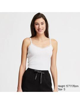 Women Cotton Pointelle Lace Camisole by Uniqlo
