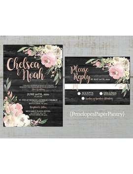 Rustic Gray Floral Summer Wedding Invitation,Dusty Rose,Blush,Ivory,Roses,Greenery,Barn Wood,Rose Gold,Shimmery,Printed Invitation,Envelope by Etsy