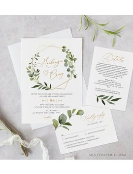 Greenery Wedding Invitation Template, Printable Invite, Rsvp And Details, Instant Download, 100 Percents Editable Text, Di Y, Boho Wreath #056 B by Etsy
